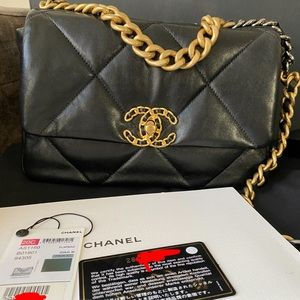 Authentic Chanel 19 bag in black lambskin